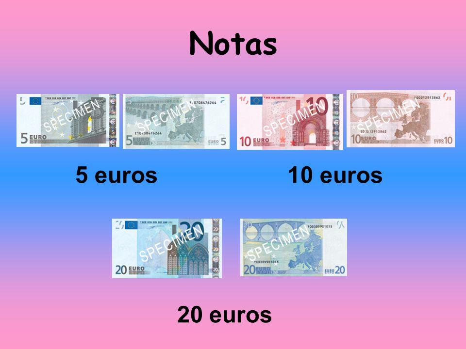 20 cêntimos 10 cêntimos 5 cêntimos 2 cêntimos 1 cêntimo