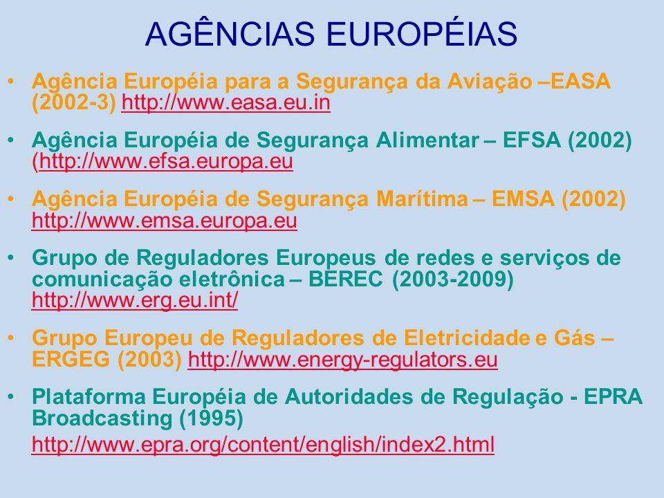 AGÊNCIAS EUROPÉIAS •Agência Européia para a Segurança da Aviação –EASA (2002-3) http://www.easa.eu.inhttp://www.easa.eu.in •Agência Européia de Segura