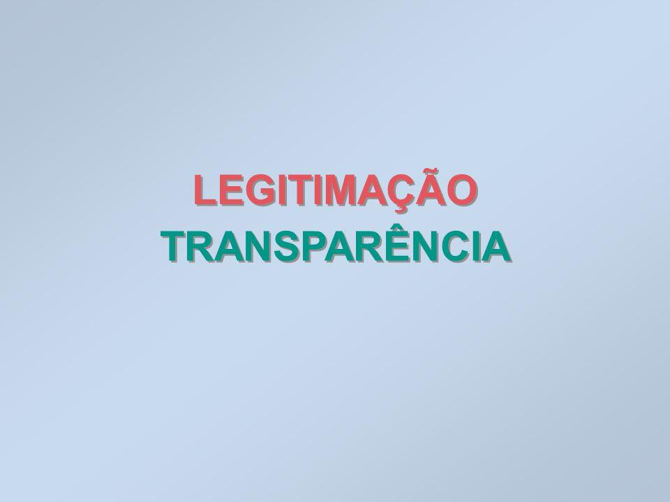 LEGITIMAÇÃO TRANSPARÊNCIA LEGITIMAÇÃO TRANSPARÊNCIA