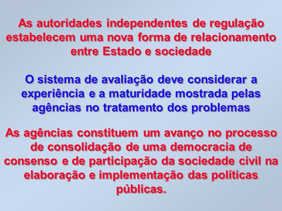 As autoridades independentes de regulação estabelecem uma nova forma de relacionamento entre Estado e sociedade O sistema de avaliação deve considerar