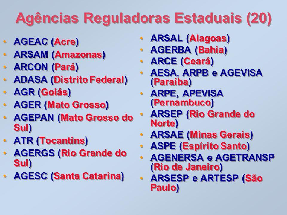 Agências Reguladoras Estaduais (20) •AGEAC (Acre) •ARSAM (Amazonas) •ARCON (Pará) •ADASA (Distrito Federal) •AGR (Goiás) •AGER (Mato Grosso) •AGEPAN (