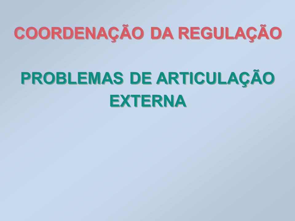 COORDENAÇÃO DA REGULAÇÃO PROBLEMAS DE ARTICULAÇÃO EXTERNA COORDENAÇÃO DA REGULAÇÃO PROBLEMAS DE ARTICULAÇÃO EXTERNA