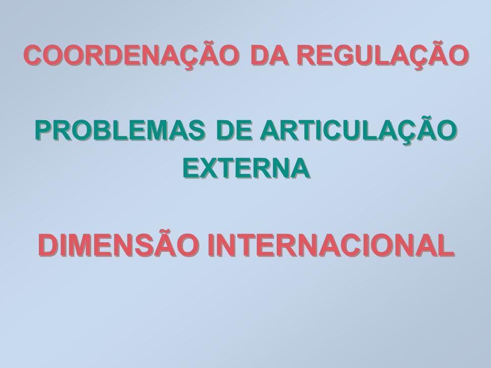 COORDENAÇÃO DA REGULAÇÃO PROBLEMAS DE ARTICULAÇÃO EXTERNA DIMENSÃO INTERNACIONAL COORDENAÇÃO DA REGULAÇÃO PROBLEMAS DE ARTICULAÇÃO EXTERNA DIMENSÃO IN
