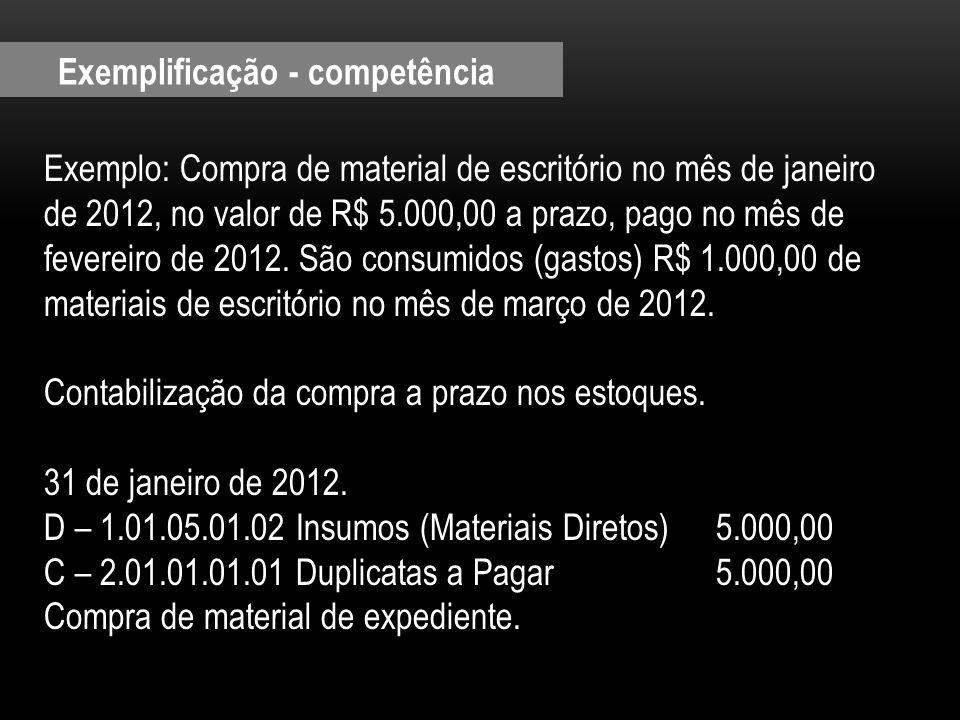 Exemplo: Compra de material de escritório no mês de janeiro de 2012, no valor de R$ 5.000,00 a prazo, pago no mês de fevereiro de 2012. São consumidos