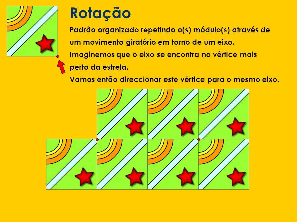 Rotação Padrão organizado repetindo o(s) módulo(s) através de um movimento giratório em torno de um eixo. Imaginemos que o eixo se encontra no vértice