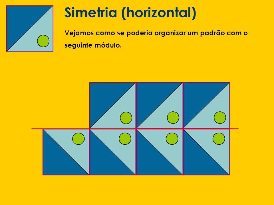 Simetria (horizontal) Vejamos como se poderia organizar um padrão com o seguinte módulo.