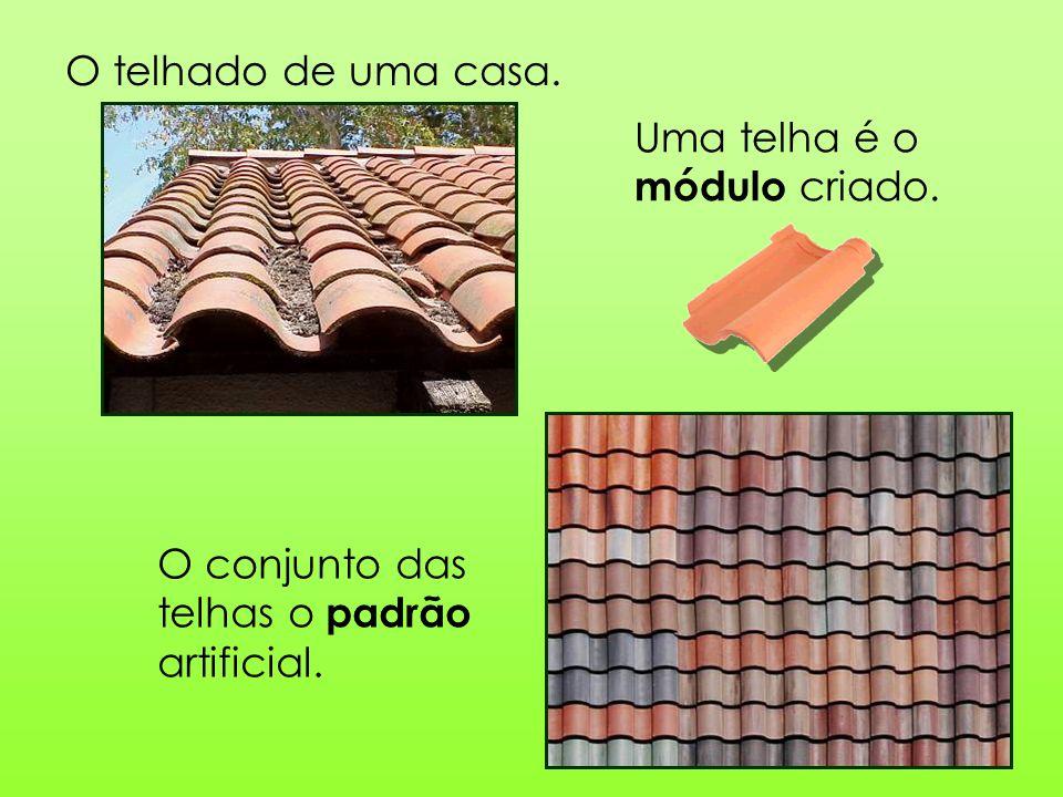 O telhado de uma casa. Uma telha é o módulo criado. O conjunto das telhas o padrão artificial.