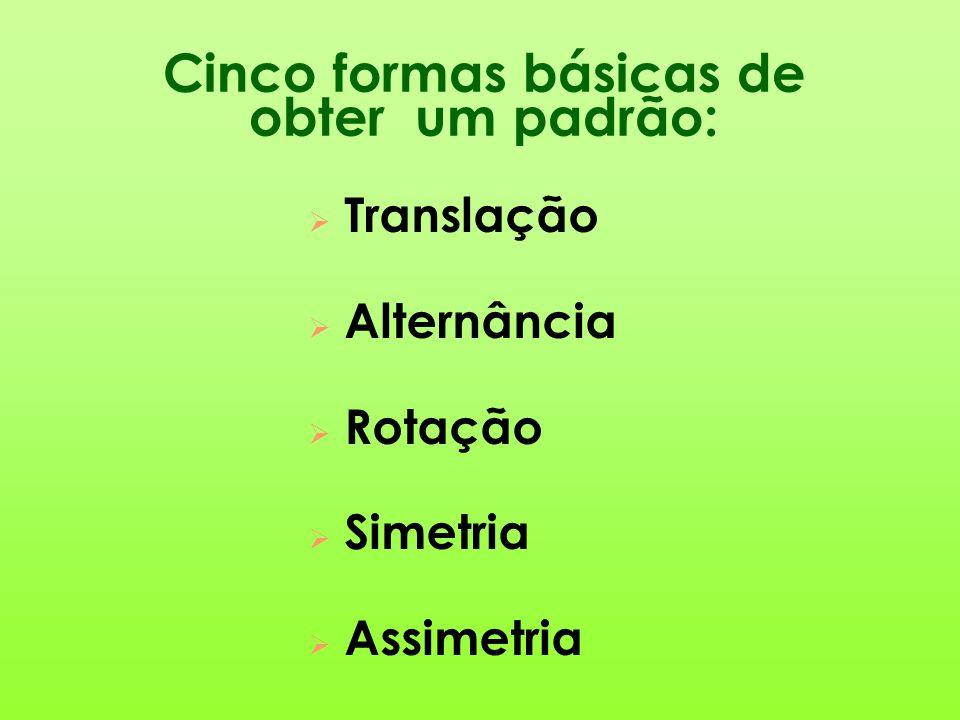 Cinco formas básicas de obter um padrão:  Translação  Alternância  Rotação  Simetria  Assimetria