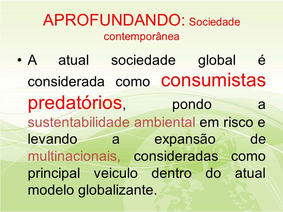 APROFUNDANDO: Sociedade contemporânea •A atual sociedade global é considerada como consumistas predatórios, pondo a sustentabilidade ambiental em risco e levando a expansão de multinacionais, consideradas como principal veiculo dentro do atual modelo globalizante.