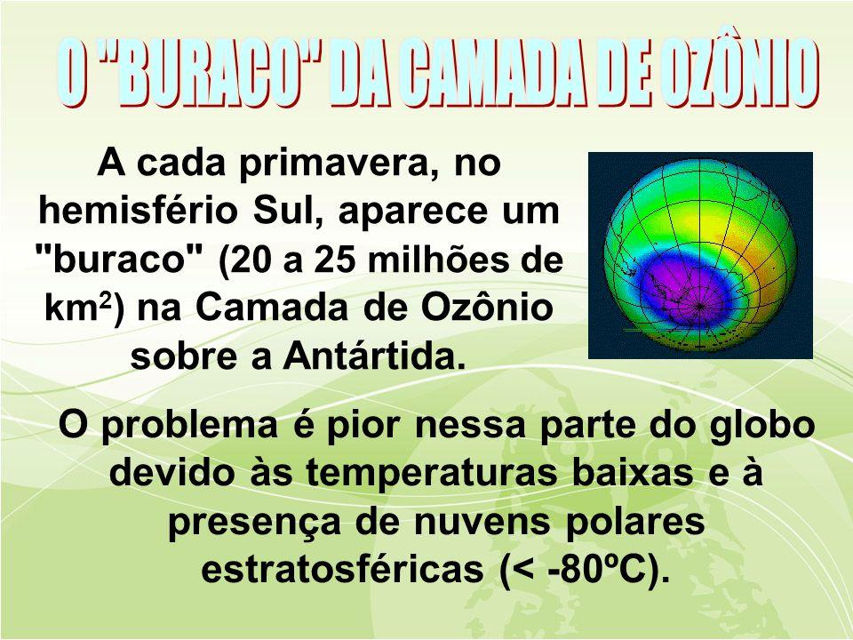A cada primavera, no hemisfério Sul, aparece um buraco (20 a 25 milhões de km 2 ) na Camada de Ozônio sobre a Antártida.
