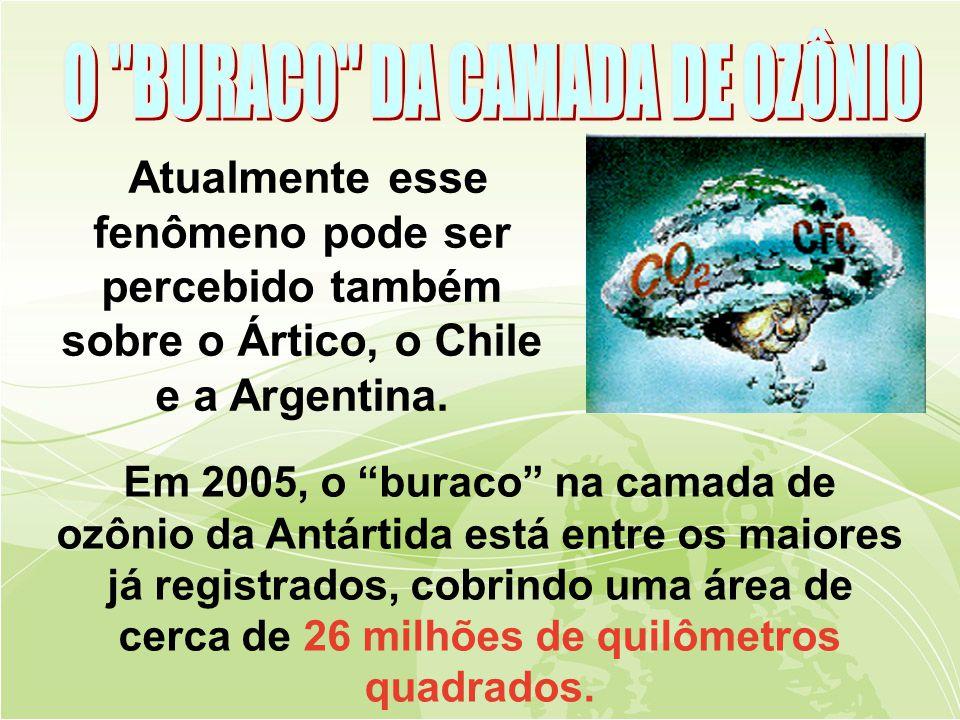 Atualmente esse fenômeno pode ser percebido também sobre o Ártico, o Chile e a Argentina.