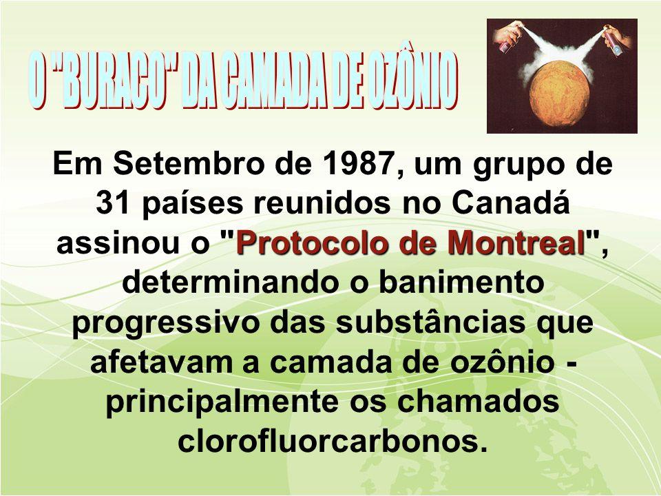 Protocolo de Montreal Em Setembro de 1987, um grupo de 31 países reunidos no Canadá assinou o Protocolo de Montreal , determinando o banimento progressivo das substâncias que afetavam a camada de ozônio - principalmente os chamados clorofluorcarbonos.