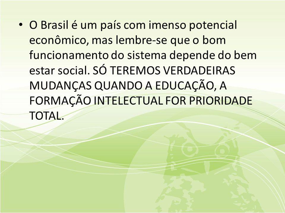 • O Brasil é um país com imenso potencial econômico, mas lembre-se que o bom funcionamento do sistema depende do bem estar social.