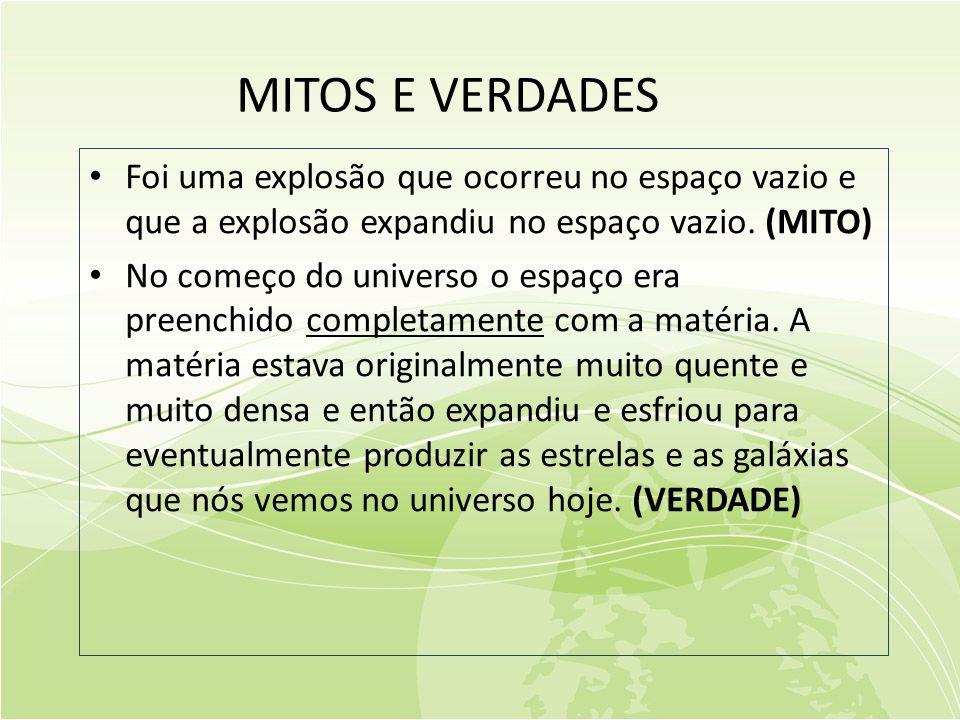 MITOS E VERDADES • Foi uma explosão que ocorreu no espaço vazio e que a explosão expandiu no espaço vazio.