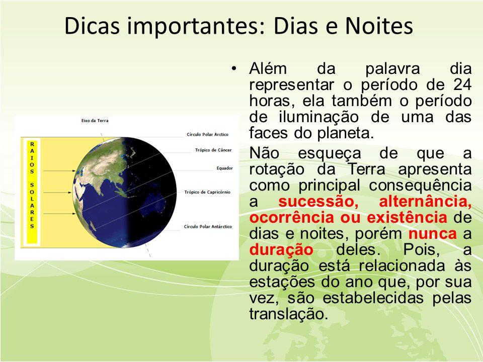 Dicas importantes: Dias e Noites •Além da palavra dia representar o período de 24 horas, ela também o período de iluminação de uma das faces do planeta.