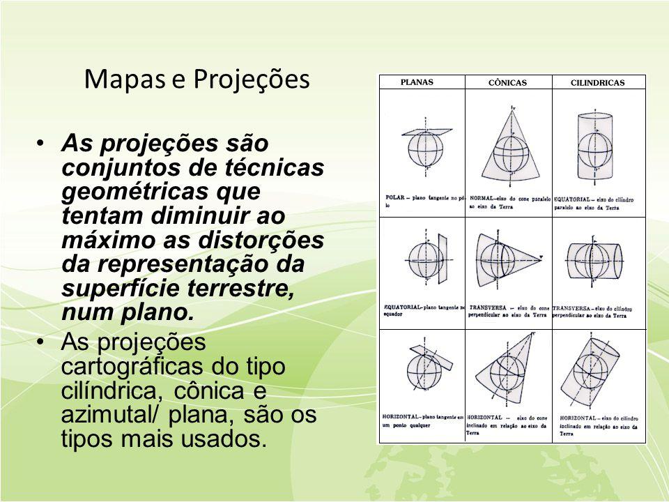 Mapas e Projeções •As projeções são conjuntos de técnicas geométricas que tentam diminuir ao máximo as distorções da representação da superfície terrestre, num plano.