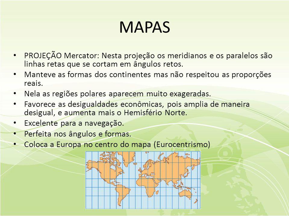 MAPAS • PROJEÇÃO Mercator: Nesta projeção os meridianos e os paralelos são linhas retas que se cortam em ângulos retos.