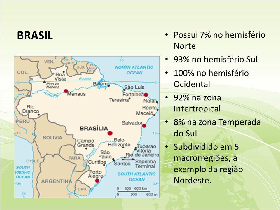 BRASIL • Possui 7% no hemisfério Norte • 93% no hemisfério Sul • 100% no hemisfério Ocidental • 92% na zona Intertropical • 8% na zona Temperada do Sul • Subdividido em 5 macrorregiões, a exemplo da região Nordeste.
