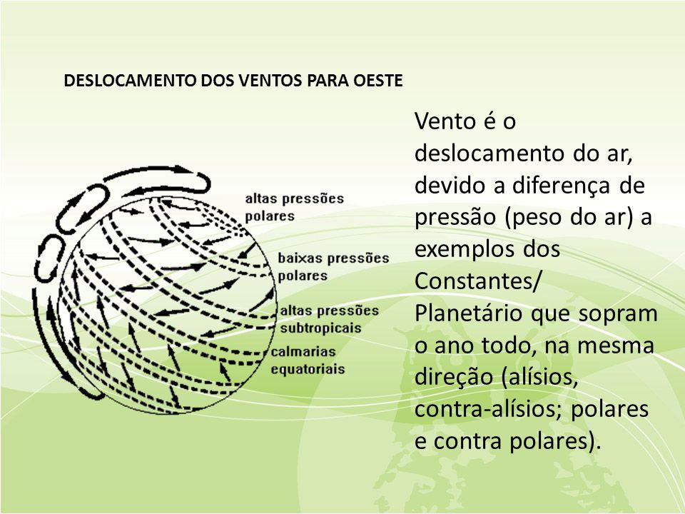 DESLOCAMENTO DOS VENTOS PARA OESTE Vento é o deslocamento do ar, devido a diferença de pressão (peso do ar) a exemplos dos Constantes/ Planetário que sopram o ano todo, na mesma direção (alísios, contra-alísios; polares e contra polares).