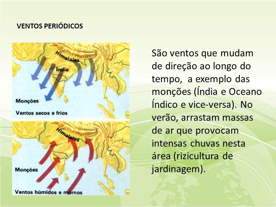 VENTOS PERIÓDICOS São ventos que mudam de direção ao longo do tempo, a exemplo das monções (Índia e Oceano Índico e vice-versa).