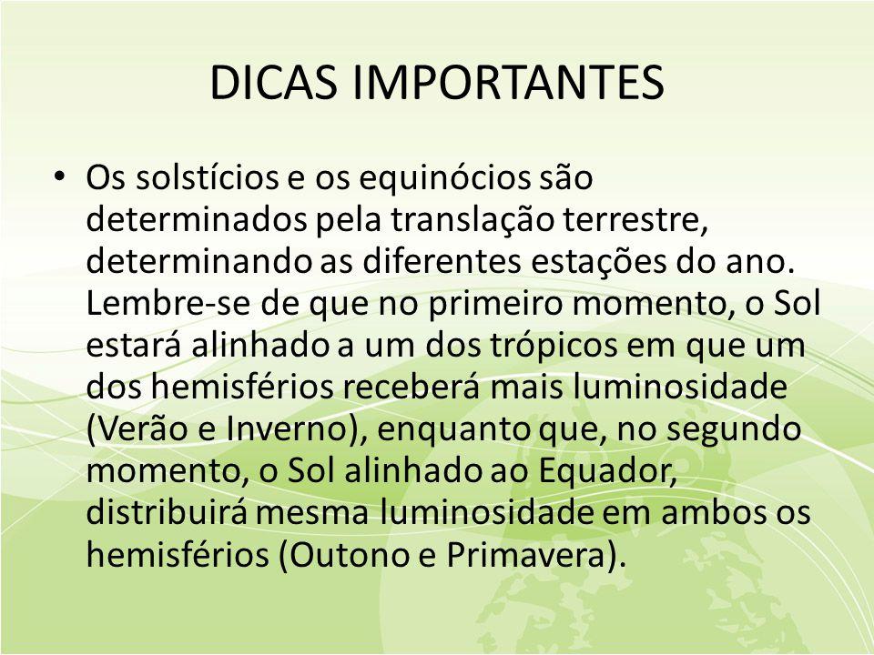 DICAS IMPORTANTES • Os solstícios e os equinócios são determinados pela translação terrestre, determinando as diferentes estações do ano.