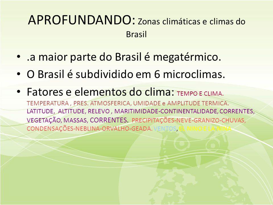 APROFUNDANDO: Zonas climáticas e climas do Brasil •.a maior parte do Brasil é megatérmico.