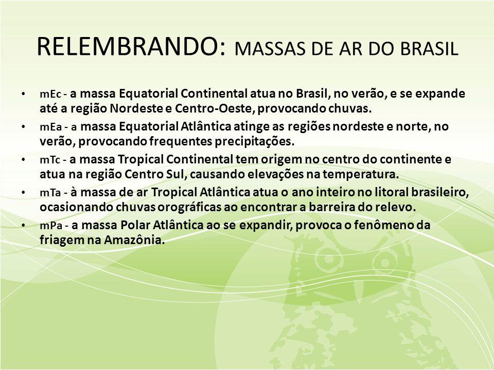 RELEMBRANDO: MASSAS DE AR DO BRASIL • mEc - a massa Equatorial Continental atua no Brasil, no verão, e se expande até a região Nordeste e Centro-Oeste, provocando chuvas.
