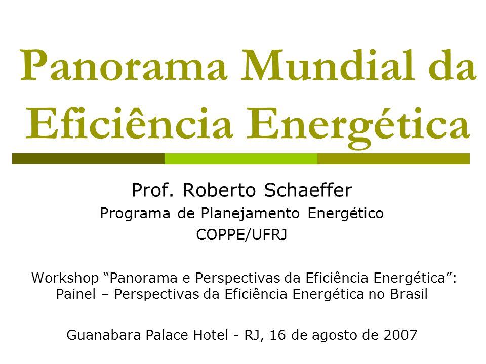 """Panorama Mundial da Eficiência Energética Prof. Roberto Schaeffer Programa de Planejamento Energético COPPE/UFRJ Workshop """"Panorama e Perspectivas da"""
