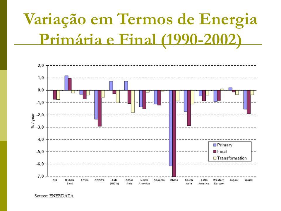 Variação em Termos de Energia Primária e Final (1990-2002)