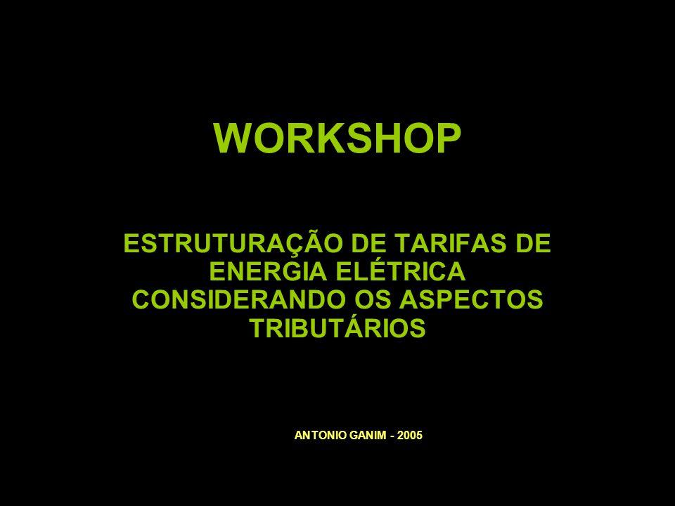 WORKSHOP ESTRUTURAÇÃO DE TARIFAS DE ENERGIA ELÉTRICA CONSIDERANDO OS ASPECTOS TRIBUTÁRIOS ANTONIO GANIM - 2005