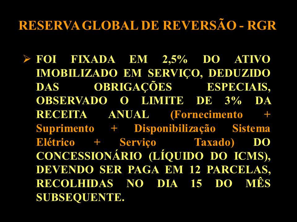  FOI FIXADA EM 2,5% DO ATIVO IMOBILIZADO EM SERVIÇO, DEDUZIDO DAS OBRIGAÇÕES ESPECIAIS, OBSERVADO O LIMITE DE 3% DA RECEITA ANUAL (Fornecimento + Suprimento + Disponibilização Sistema Elétrico + Serviço Taxado) DO CONCESSIONÁRIO (LÍQUIDO DO ICMS), DEVENDO SER PAGA EM 12 PARCELAS, RECOLHIDAS NO DIA 15 DO MÊS SUBSEQUENTE.