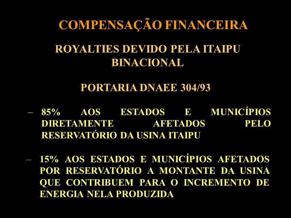 ROYALTIES DEVIDO PELA ITAIPU BINACIONAL PORTARIA DNAEE 304/93 –85% AOS ESTADOS E MUNICÍPIOS DIRETAMENTE AFETADOS PELO RESERVATÓRIO DA USINA ITAIPU –15% AOS ESTADOS E MUNICÍPIOS AFETADOS POR RESERVATÓRIO A MONTANTE DA USINA QUE CONTRIBUEM PARA O INCREMENTO DE ENERGIA NELA PRODUZIDA COMPENSAÇÃO FINANCEIRA