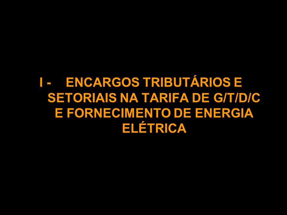 I -ENCARGOS TRIBUTÁRIOS E SETORIAIS NA TARIFA DE G/T/D/C E FORNECIMENTO DE ENERGIA ELÉTRICA