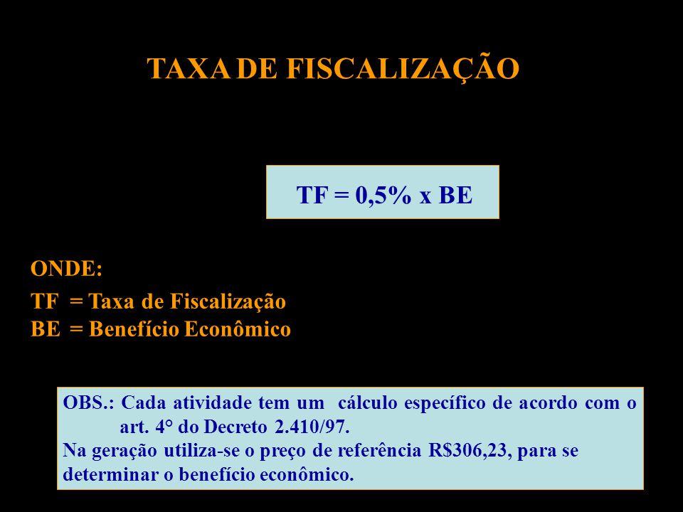 TF = 0,5% x BE ONDE: TF = Taxa de Fiscalização BE = Benefício Econômico OBS.: Cada atividade tem um cálculo específico de acordo com o art.