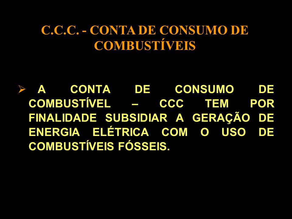 A CONTA DE CONSUMO DE COMBUSTÍVEL – CCC TEM POR FINALIDADE SUBSIDIAR A GERAÇÃO DE ENERGIA ELÉTRICA COM O USO DE COMBUSTÍVEIS FÓSSEIS.