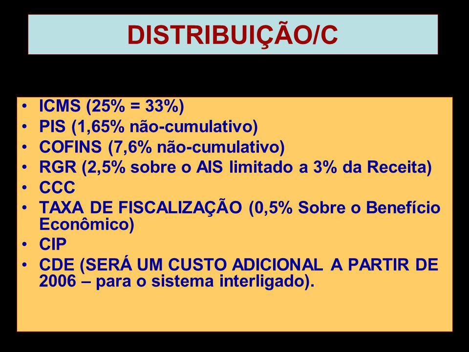DISTRIBUIÇÃO/C •ICMS (25% = 33%) •PIS (1,65% não-cumulativo) •COFINS (7,6% não-cumulativo) •RGR (2,5% sobre o AIS limitado a 3% da Receita) •CCC •TAXA DE FISCALIZAÇÃO (0,5% Sobre o Benefício Econômico) •CIP •CDE (SERÁ UM CUSTO ADICIONAL A PARTIR DE 2006 – para o sistema interligado).