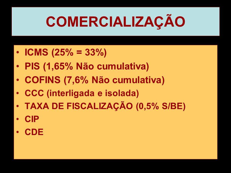 COMERCIALIZAÇÃO •ICMS (25% = 33%) •PIS (1,65% Não cumulativa) •COFINS (7,6% Não cumulativa) •CCC (interligada e isolada) •TAXA DE FISCALIZAÇÃO (0,5% S/BE) •CIP •CDE