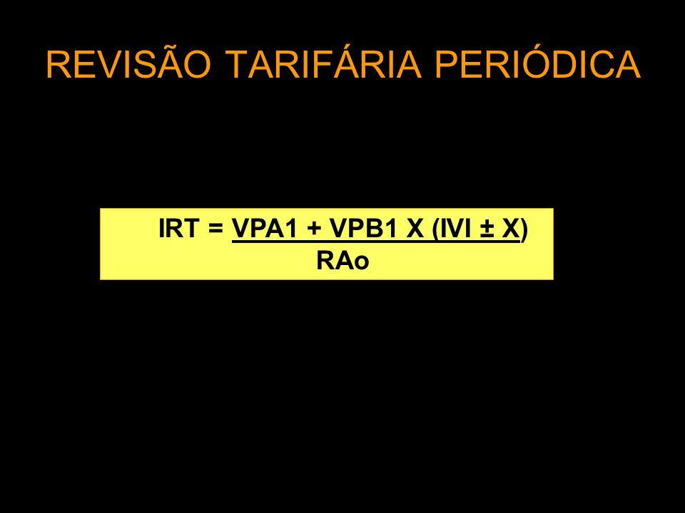 REVISÃO TARIFÁRIA PERIÓDICA IRT = VPA1 + VPB1 X (IVI ± X) RAס