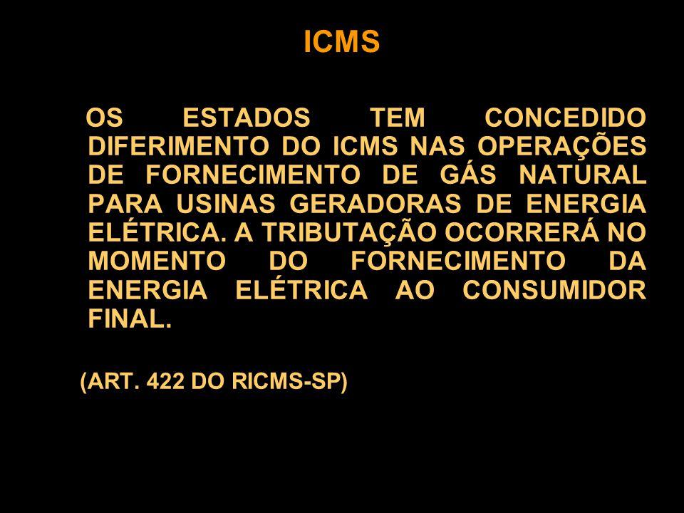 OS ESTADOS TEM CONCEDIDO DIFERIMENTO DO ICMS NAS OPERAÇÕES DE FORNECIMENTO DE GÁS NATURAL PARA USINAS GERADORAS DE ENERGIA ELÉTRICA.