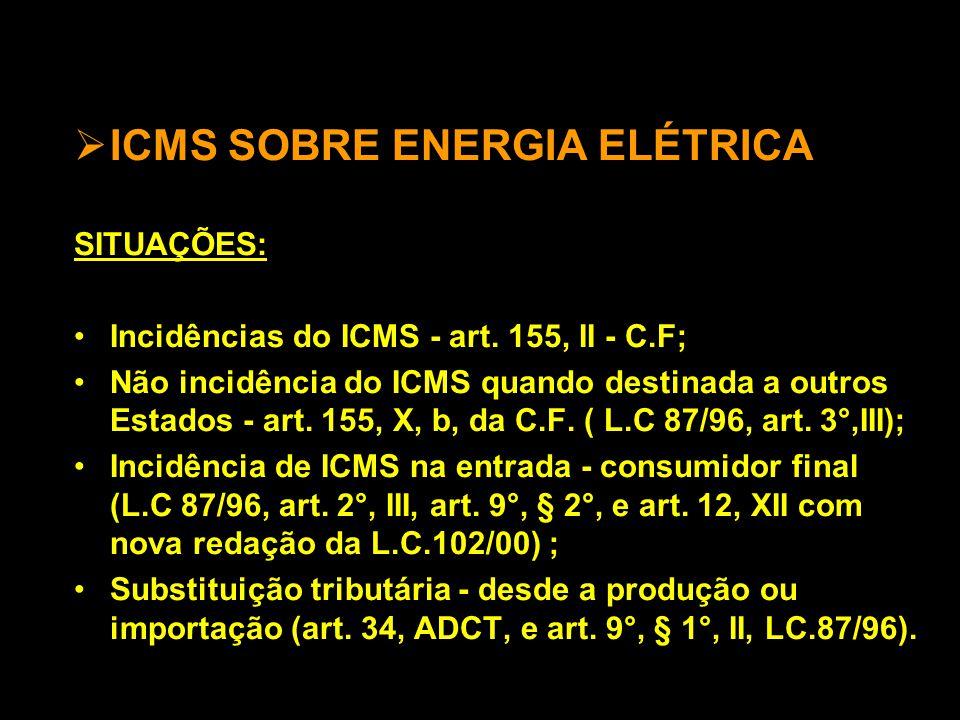  ICMS SOBRE ENERGIA ELÉTRICA SITUAÇÕES: •Incidências do ICMS - art.