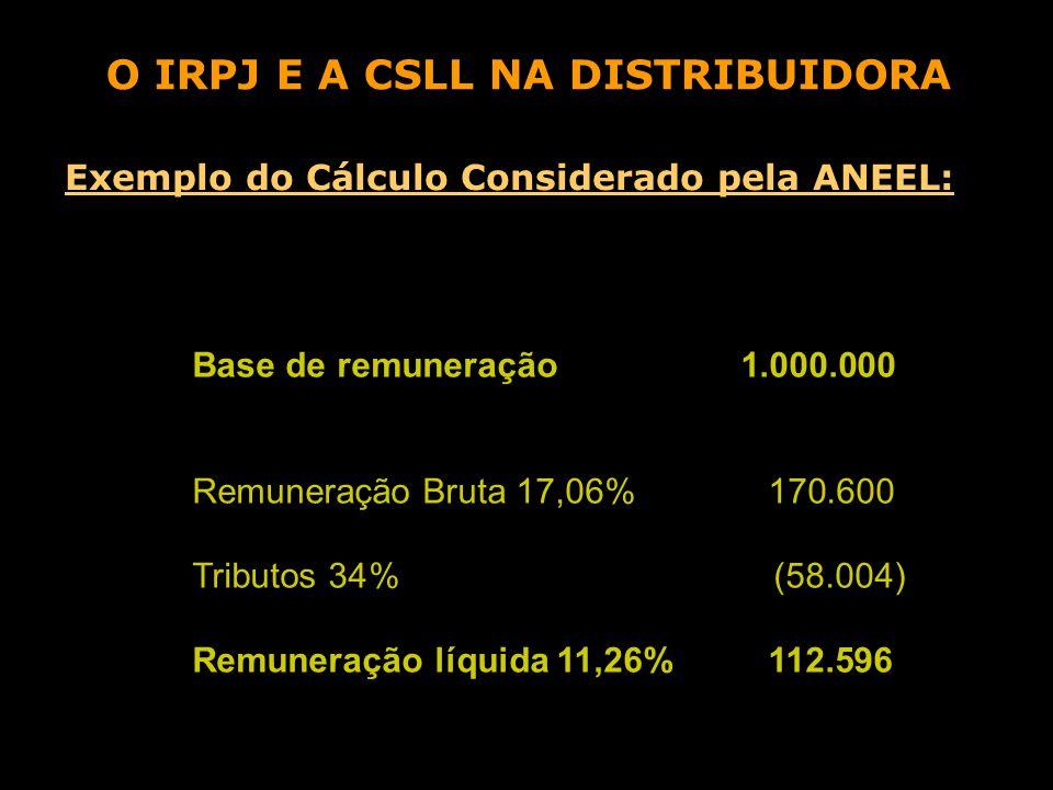 Base de remuneração 1.000.000 Remuneração Bruta 17,06% 170.600 Tributos 34% (58.004) Remuneração líquida 11,26% 112.596 O IRPJ E A CSLL NA DISTRIBUIDORA Exemplo do Cálculo Considerado pela ANEEL: