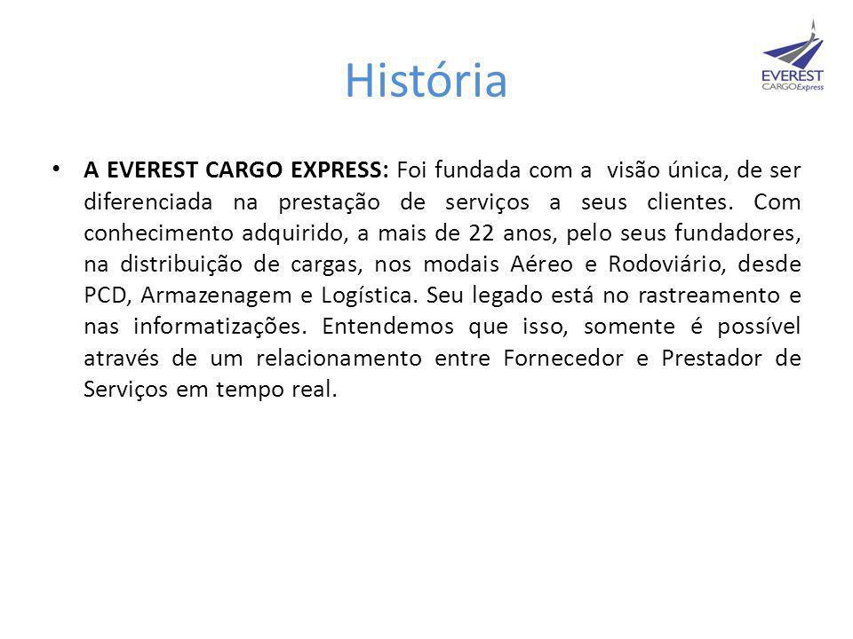 História • A EVEREST CARGO EXPRESS: Foi fundada com a visão única, de ser diferenciada na prestação de serviços a seus clientes. Com conhecimento adqu