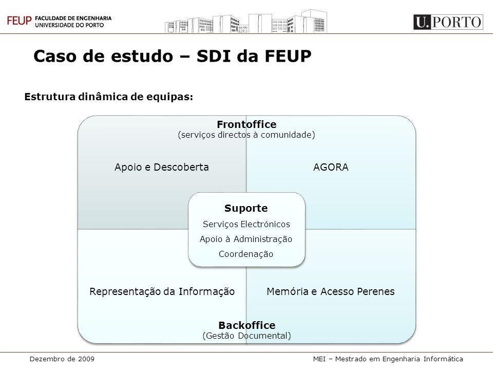 Dezembro de 2009MEI – Mestrado em Engenharia Informática Caso de estudo – SDI da FEUP Estrutura dinâmica de equipas: Apoio e DescobertaAGORA Represent