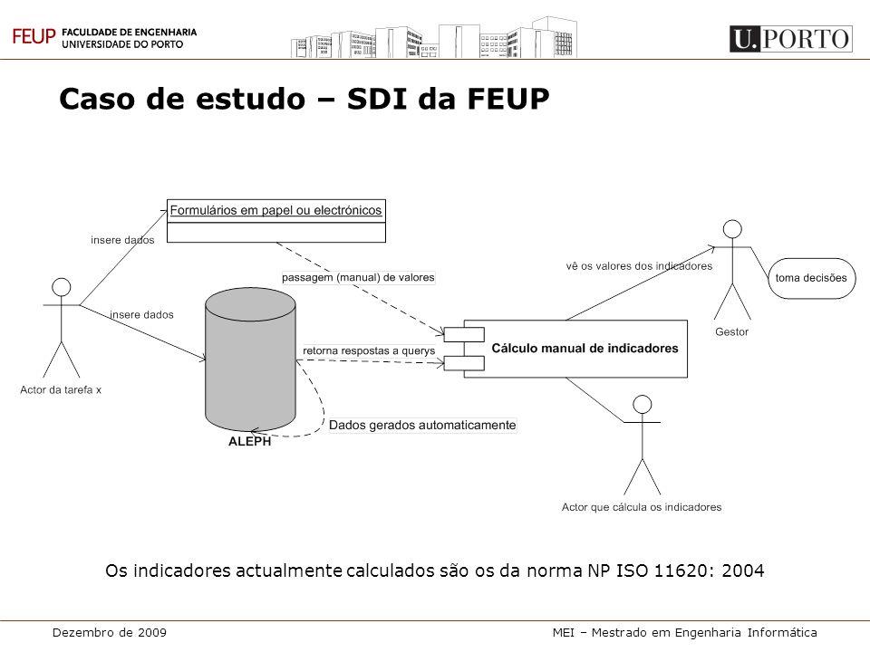 Dezembro de 2009MEI – Mestrado em Engenharia Informática Caso de estudo – SDI da FEUP Os indicadores actualmente calculados são os da norma NP ISO 116