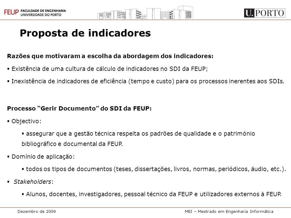 Dezembro de 2009MEI – Mestrado em Engenharia Informática Proposta de indicadores Razões que motivaram a escolha da abordagem dos indicadores:  Existê