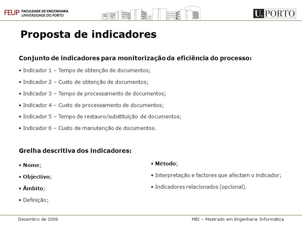Dezembro de 2009MEI – Mestrado em Engenharia Informática Proposta de indicadores Conjunto de indicadores para monitorização da eficiência do processo: