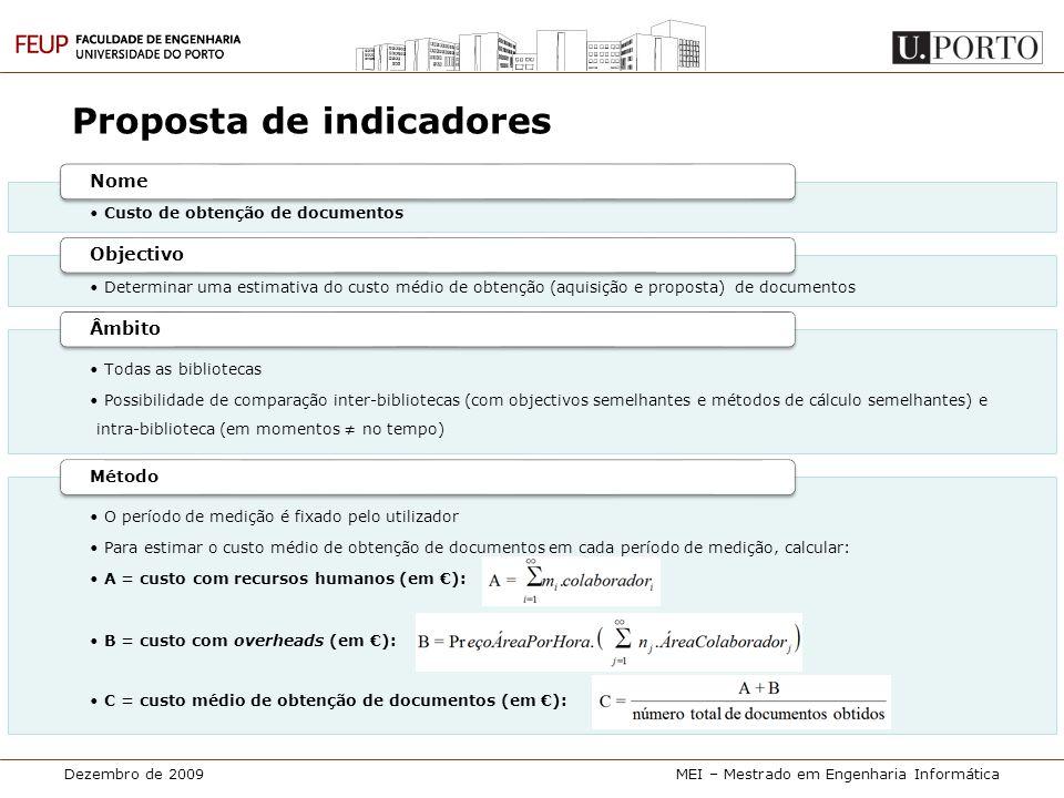 Dezembro de 2009MEI – Mestrado em Engenharia Informática Proposta de indicadores • Custo de obtenção de documentos Nome • Determinar uma estimativa do