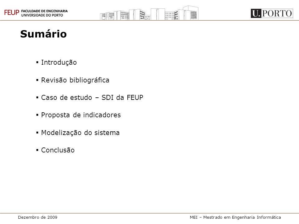 Dezembro de 2009MEI – Mestrado em Engenharia Informática Proposta de indicadores • Custo de manutenção de documentos Nome • Determinar uma estimativa do custo médio de manutenção de documentos Objectivo • Todas as bibliotecas • Possibilidade de comparação intra-biblioteca (em momentos ≠ no tempo) Âmbito • O período de medição é fixado pelo utilizador • Para estimar o custo médio de obtenção de documentos em cada período de medição, calcular: • A = custo com recursos humanos (em €): • B = custo com overheads (em €): • E = custo médio de manutenção de documentos (em €): Método