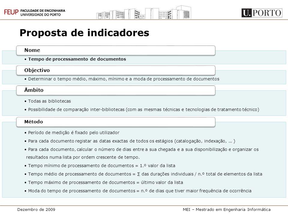 Dezembro de 2009MEI – Mestrado em Engenharia Informática Proposta de indicadores • Tempo de processamento de documentos Nome • Determinar o tempo médi
