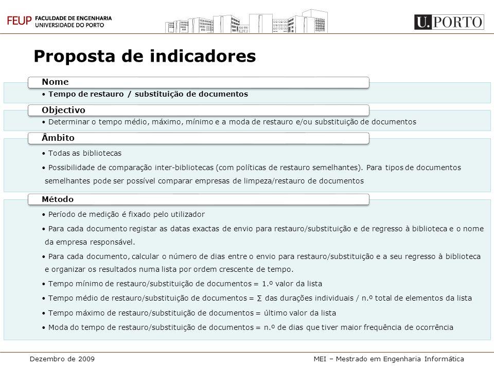Dezembro de 2009MEI – Mestrado em Engenharia Informática Proposta de indicadores • Tempo de restauro / substituição de documentos Nome • Determinar o